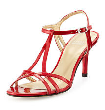 714ff3d0dec4 Stuart Weitzman Red Quasar Yvette Strappy Patent Heeled 1497 Sandals Sz 8 B
