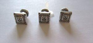 Brighton Push Pins- Set of Three- silver color- square -etching- pretty design
