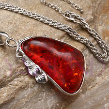 "Huge Baltic Faux Red Amber White Gold Plated 3"" Pendant + 21"" Chain Necklace"