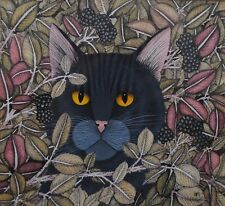 STUNNING PAINTING BY HELEN MORTLEY OF BLACK CAT AMONGST BRAMBLES