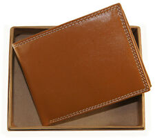AG Wallets Mens Premium Cowhide Leather Credit Card Billfold Wallet Tan Gift Box