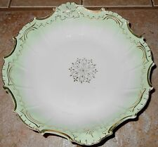 Vtg Serving Bowl Mint Green Gold Tone Accents Scalloped Edges Starburst Unmarked