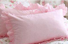 Shabby Chic Cottage Country Ruffled Pink Check Gingham Ruffles Pillow Case Sham