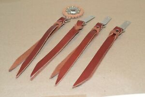 "Decorative Saddle strings - Burgundy - 1/2"" x 7"" w/ Clip & Dee - 4 pack  (E463)"