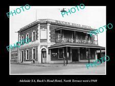 Old Postcard Size Photo Of Adelaide Sa Bucks Head Hotel North Tce 1940