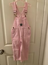 John Deere Girl's Pink and White Striped Bib Overalls Size 5