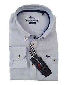 """Harmont & Blaine  XL  Chest Measures 49""""  Blue Linen REG FIT L/S Shirt  RRP £229"""