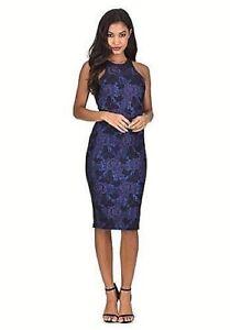 Ladies AX Paris Bodycon Dress- Blue Metallic Lace Effect- UK Size 12- NEW