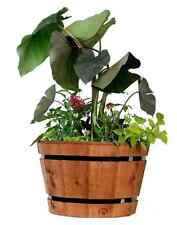 Wood Barrel Planter Garden Pot Flower Plant Large Rustic Outdoor Gardening Decor