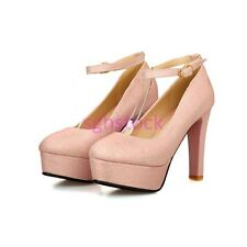 Womens Round toe Bling Bling Platfrom Block High heel Strap Buckle Wedding shoes