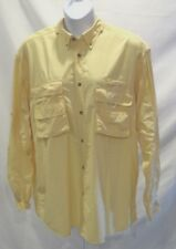 Mens Gander Mtn Vented Fishing Shirt Sz 2Xl Lt Yellow Long Sleeve Button Front