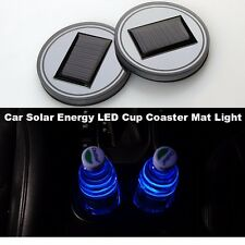 2P Solar Cup Holder Bottom Pad  LED Light Cover Trim Atmosphere Lamp For All Car
