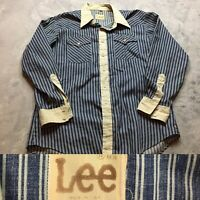 70s VTG LEE JEANS Made USA HICKORY STRIPED Western XL Shirt Engineer Railroad