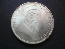 Germany 1968 5 Deutsche Mark silver coin 0.625 near mint death of Gutenberg.