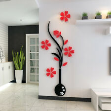 US Flower Decal 3D Mirror Wall Sticker DIY Removable Art Mural Home Room Decor
