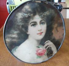 "Victorian Chimney Flue Cover Woman Portrait Bust White Dress Tin frame 9+"""
