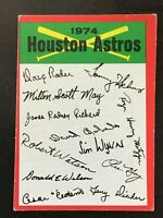 HOUSTON ASTROS 1974 TOPPS BASEBALL RED CHECKLIST MARKED