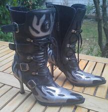 NEW ROCK  Stiefel Malicia Gr. 38, US 8 Damen Mod. 9591-S2 Flammen schwarz silber