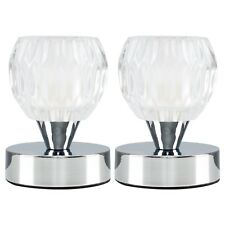 Pair of Modern Chrome  Glass Small Round Touch Bedside Table Lamp Lights Lamps
