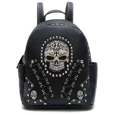 Sugar Skull Punk Art Rivet Studded Biker Purse Women Python Backpack Wallet Set