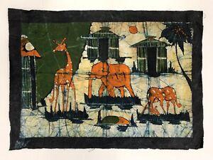 "African Batik Wax Cloth Painting 33.5"" X 24"" Elephant Giraffe Houses Signed"