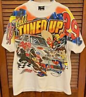 Vintage 90s NASCAR Looney Tunes All Tuned Up Racing All Over Print Tshirt Size L