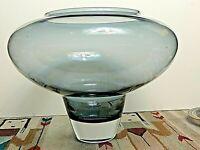 Monumental Zwiesel German Cased Art Glass Vase Michael Boehm Smoke Blue Gray MCM