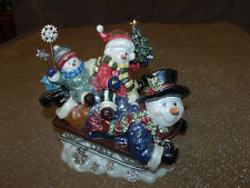 Rare Musical Snow & Family on Sleigh Music Box Heritage House Holiday Christmas