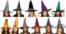 Ladies Witches Hat Pumpkin Spiderweb Cobweb Halloween Fancy Dress Costume