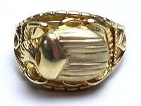 Egyptian Revival Skarabäus Ring 925 Silber vergoldet Meisterpunze RG 54-55 /A290