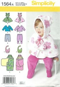 Simplicity 1564 Capelet, Jacket, Blanket Wrap, Bib, Pants w Footies Sz XXS-L UC