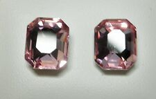 8x10mm Light Pink Oblong Glass Faceted Silver Tone Stud Earrings - on Posts