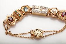 RGVS RICHARD GLATTER 3ct Diamond Emerald Garnet 14k Gold Slide Charm Bracelet