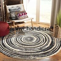 Reversible Round Braided Jute Natural & Multi Colour Cotton Rug Floor Decor Rags
