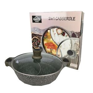 30cm Divided Chinese Hot Pot Steamboat with Lid, Non-stick Casserole 2-in-1