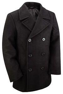 Pea Coat US Navy Military Vintage Style Winter Warm Wool Jacket Dress Top Black