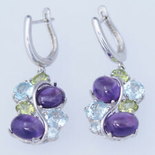 Beautiful Natural Mixed Gemstone Leverback Earrings 92.5 Solid Sterling Silver