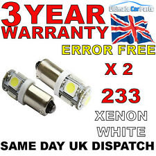 2x 5 SMD LED HID XENON WHITE SIDE LIGHT BULB 233 BA9S T4W BAYONET CAP 360 UK