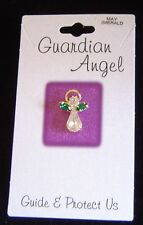 May birthstone Guardian Angel pin, emerald crystals