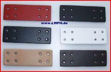 10 weisse Leder-Bastelteile mit 8 Löcher von LWPH 9 x 3 Formteile Stanzteile wow