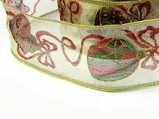 """2 Yds Christmas Gold Sheer Ornament Wired Ribbon 2 1/2""""W"""