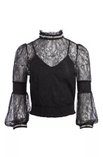 Alice + Olivia Jewel crystal/pearl lace top, NWT, size S, retail $485.00