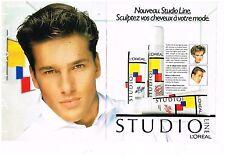 Publicité Advertising 1985 (2 pages) Gel Laque Studio Line L'Oréal