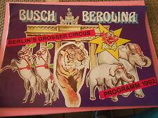 Programme Circus Circo Cirque Bursh Berolona 1992