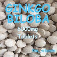 "GINKGO BILOBA 6000mg 60  ""High Strength"" Tablets    FREE P&P"