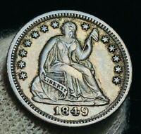1849 Seated Liberty Half Dime 5C High Grade AU Ex Crain US Silver Coin CC2394