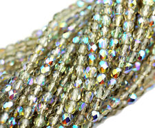 100 Smoke AB Fire Polished Czech Glass Round Faceted Beads 4MM