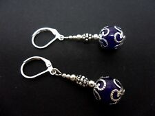A PAIR OF DANGLY PURPLE JADE BEAD LEVERBACK HOOK EARRINGS . NEW..