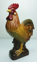 Vintage Hand Carved Wood Rooster Hand Painted Folk Art USA Hen Chicken  6 3/4""