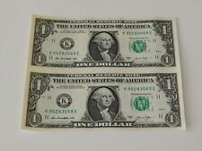 UNCUT SHEET OF (2) $1 ONE US DOLLAR BILLS, NOTES, MONEY, & CURRENCY -NEW-